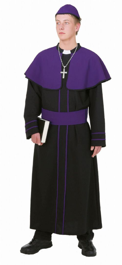 Mens Cardinal Costume Priest Father Pope Vicar Fancy Dress Outfit